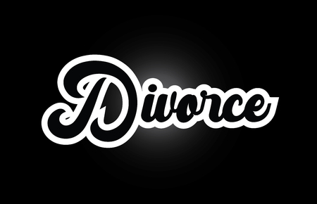 Divorce hand written word text for typography iocn design in black and white color. Can be used for a logo, branding or card
