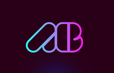 AB A B pink line joined alphabet letter combination suitable as a logo icon design for a company or business