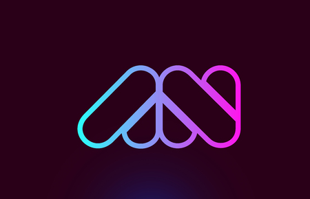 AN A N pink line joined alphabet letter combination suitable as a logo icon design for a company or business