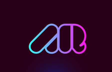 AR A R pink line joined alphabet letter combination suitable as a logo icon design for a company or business