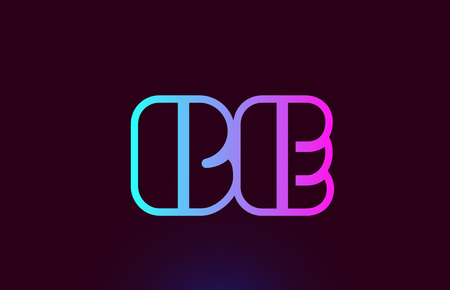 BE B E pink line joined alphabet letter combination suitable as a logo icon design for a company or business