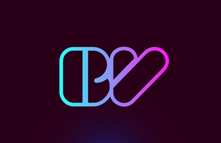 BV B V pink line joined alphabet letter combination suitable as a logo icon design for a company or business Ilustração