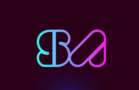 SA S A pink line joined alphabet letter combination suitable as a logo icon design for a company or business