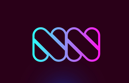 NN N N pink line joined alphabet letter combination suitable as a logo icon design for a company or business Ilustração