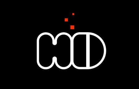HD H D black white red dots alphabet letter combination suitable as a logo icon design for a company or business