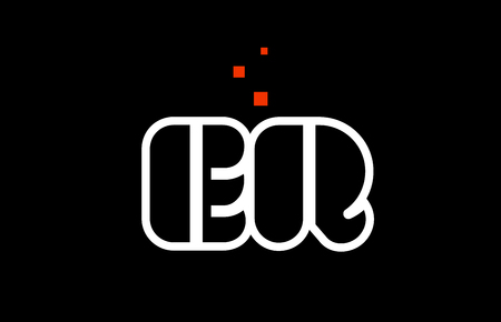 ER E R black white red dots alphabet letter combination suitable as a logo icon design for a company or business