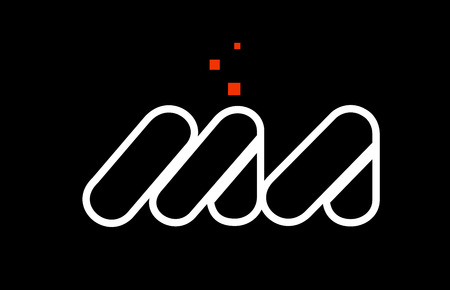 MA M A black white red dots alphabet letter combination suitable as a logo icon design for a company or business