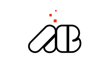 AB A B black white red dots alphabet letter combination suitable as a logo icon design for a company or business Illustration