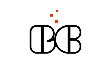 BC B C black white red dots alphabet letter combination suitable as a logo icon design for a company or business Çizim