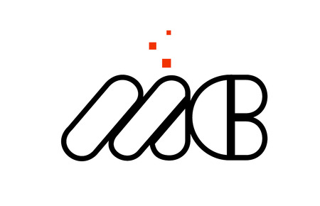 MC M C black white red dots alphabet letter combination suitable as a logo icon design for a company or business