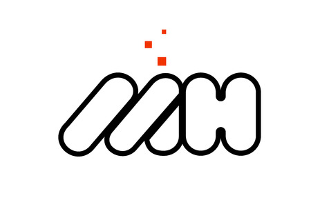 MH M H black white red dots alphabet letter combination suitable as a logo icon design for a company or business Logó