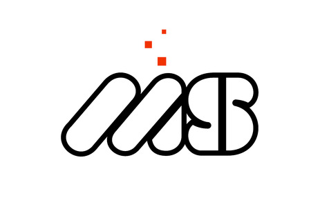 MS M S black white red dots alphabet letter combination suitable as a logo icon design for a company or business