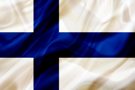 Finland country flag symbol on silk or silky waving texture. Smooth fabric or material