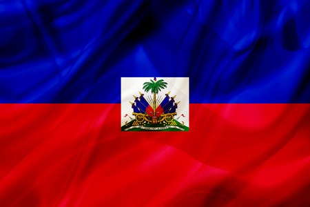 Haiti country flag symbol on silk or silky waving texture. Smooth fabric or material