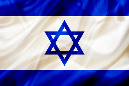 Israel country flag symbol on silk or silky waving texture. Smooth fabric or material