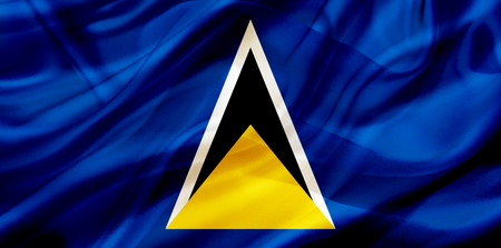 Saint Lucia country flag symbol on silk or silky waving texture. Smooth fabric or material Stok Fotoğraf