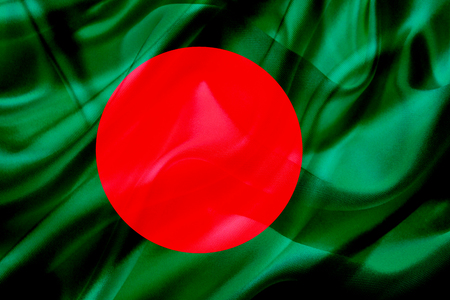Bangladesh country flag symbol on silk or silky waving texture. Smooth fabric or material Stok Fotoğraf