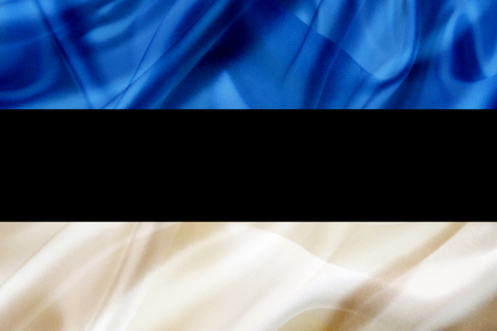 Estonia country flag symbol on silk or silky waving texture. Smooth fabric or material