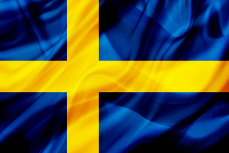 Sweden country flag symbol on silk or silky waving texture. Smooth fabric or material Banque d'images - 123545834