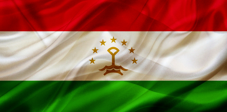 Tajikistan country flag symbol on silk or silky waving texture. Smooth fabric or material Banque d'images - 123545838