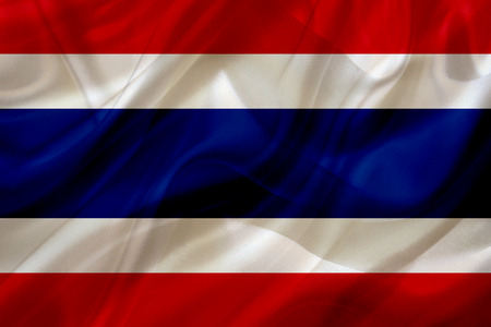 Thailand country flag symbol on silk or silky waving texture. Smooth fabric or material Banque d'images - 123545840
