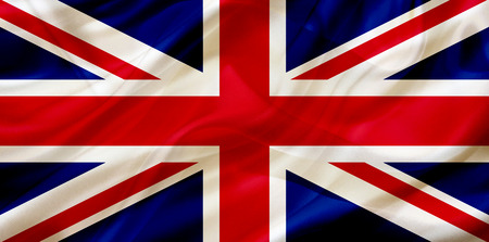UK United Kingdom country flag symbol on silk or silky waving texture. Smooth fabric or material