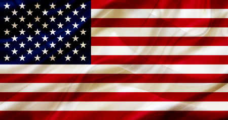 US The United States country flag symbol on silk or silky waving texture. Smooth fabric or material Banque d'images - 123545856