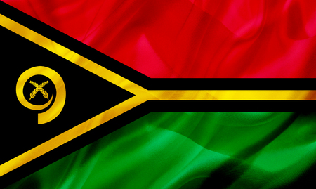Vanuatu country flag symbol on silk or silky waving texture. Smooth fabric or material Banque d'images - 123545858
