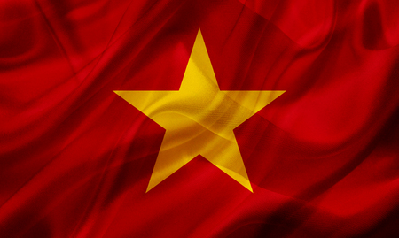Vietnam country flag symbol on silk or silky waving texture. Smooth fabric or material Banque d'images - 123545860