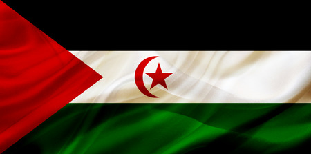 Western Sahara country flag symbol on silk or silky waving texture. Smooth fabric or material Banque d'images - 123545861