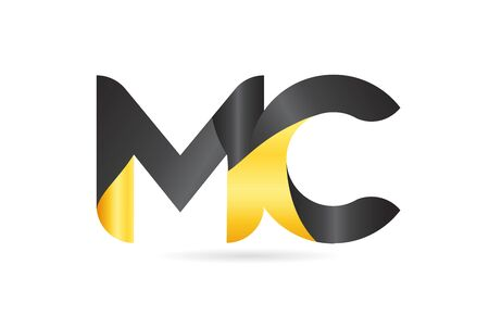 joined or connected MC M C yellow black alphabet letter combination suitable as an icon design for a company or business Illustration