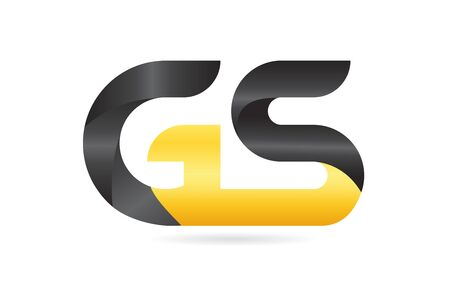 joined or connected GS G S yellow black alphabet letter logo combination suitable as an icon design for a company or business