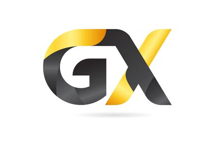 joined or connected GX G X yellow black alphabet letter logo combination suitable as an icon design for a company or business