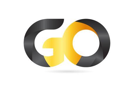 joined or connected GO G O yellow black alphabet letter logo combination suitable as an icon design for a company or business