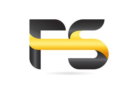 joined or connected FS F S yellow black alphabet letter logo combination suitable as an icon design for a company or business