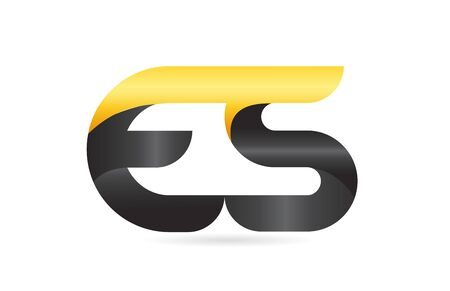 joined or connected ES E S yellow black alphabet letter logo combination suitable as an icon design for a company or business