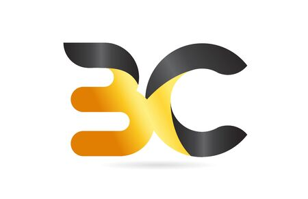 joined or connected BC B C yellow black alphabet letter logo combination suitable as an icon design for a company or business Çizim