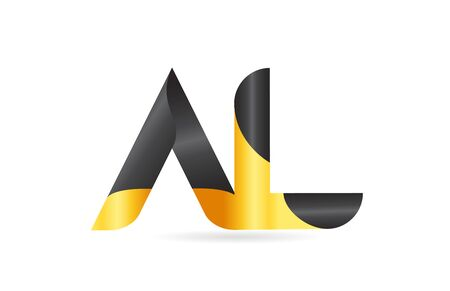 joined or connected AL A L yellow black alphabet letter logo combination suitable as an icon design for a company or business