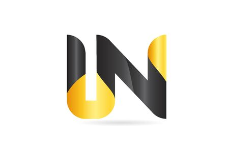 joined or connected LN L N yellow black alphabet letter logo combination suitable as an icon design for a company or business
