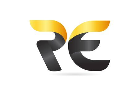 RE R E yellow black alphabet letter logo combination suitable as an icon design for a company or business