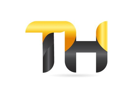 joined or connected TH T H yellow black alphabet letter logo combination suitable as an icon design for a company or business Illustration