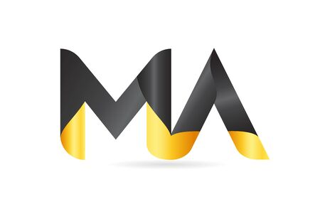 joined or connected MA M A yellow black alphabet letter logo combination suitable as an icon design for a company or business Logo