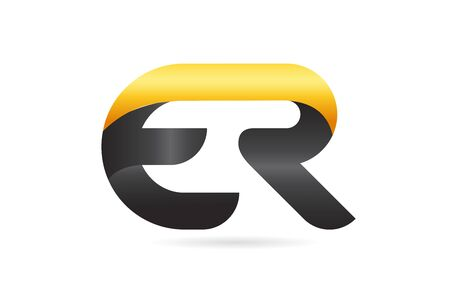 joined or connected ER E R yellow black alphabet letter logo combination suitable as an icon design for a company or business
