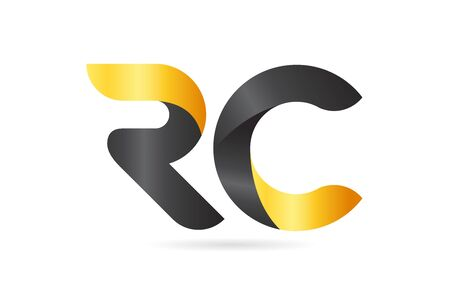 RC R C yellow black alphabet letter logo combination suitable as an icon design for a company or business Ilustrace