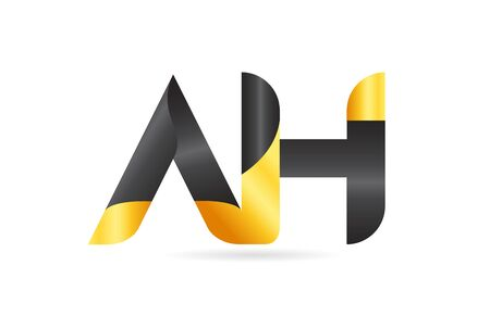 joined or connected AH A H yellow black alphabet letter logo combination suitable as an icon design for a company or business