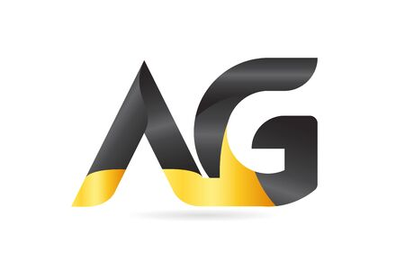joined or connected AG A G yellow black alphabet letter logo combination suitable as an icon design for a company or business Ilustração