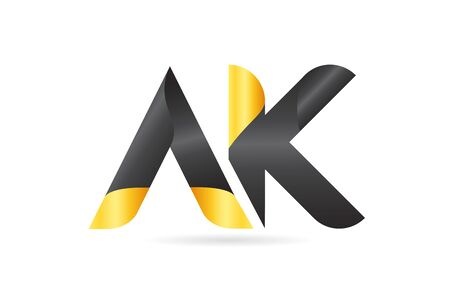 AK A K yellow black alphabet letter logo combination suitable as an icon design for a company or business