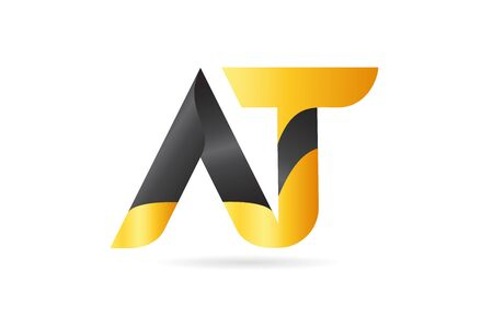 joined or connected AT A T yellow black alphabet letter logo combination suitable as an icon design for a company or business