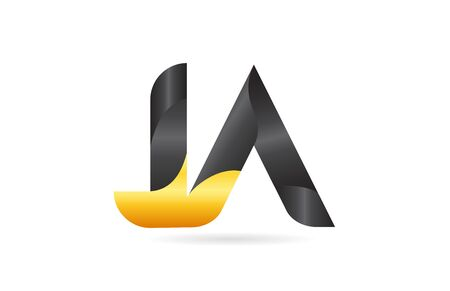 joined or connected JA J A yellow black alphabet letter logo combination suitable as an icon design for a company or business