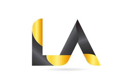 joined or connected LA L A yellow black alphabet letter logo combination suitable as an icon design for a company or business Ilustração